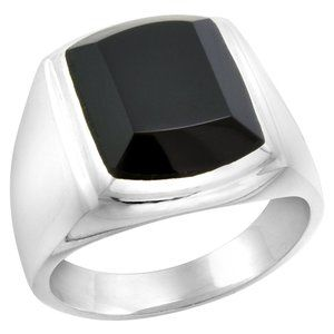 Large Sterling Silver Mens  Black Onyx Ring